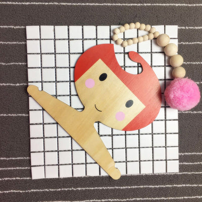 Wooden Clothes Hook Kids Wall Decorate Cartoon Girl-shape Hanger Hook -Red