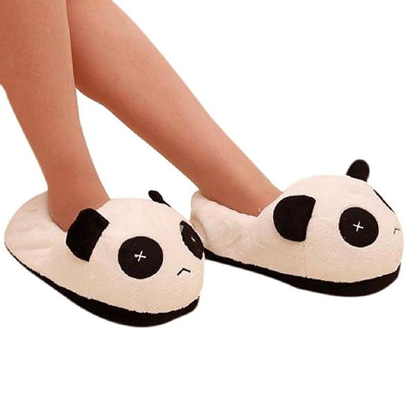 Black and white panda eyes crying face cotton slippers Men's Panda Plush Wi H9J5