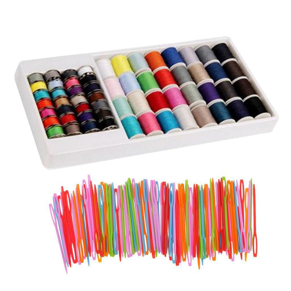 60Pcs Polyester Sewing Threads Lots & 100Pcs Plastic Weaving Needles Crafts