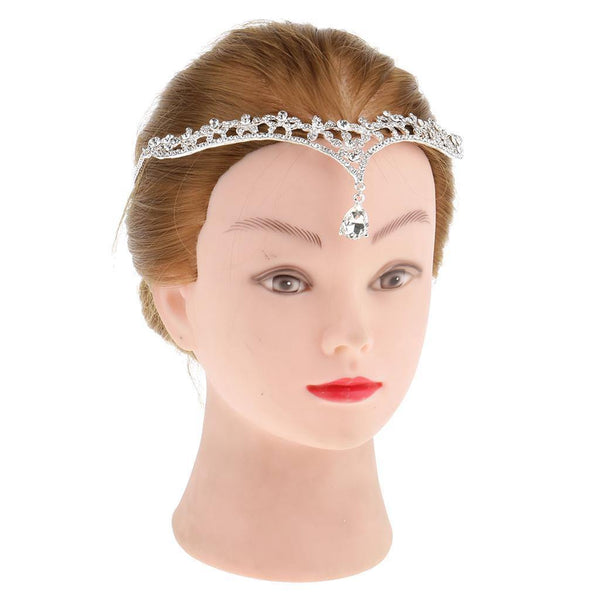 Magideal Shiny Crystal Rhinestone Head Chain Jewelry Evening Party Hairband