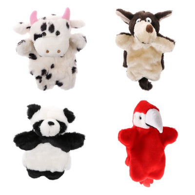 Adorable Animal Hand Puppets Kids Soft Glove Plush Toys Cow