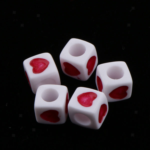 MagiDeal 200pcs Red White Cube/Flat Acrylic Beads - Jewelry Making