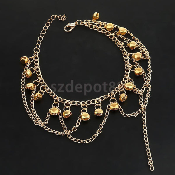 Boho Anklet Chain Bracelet Ankle Bell Golden Barefoot Beach Charming Jewelry