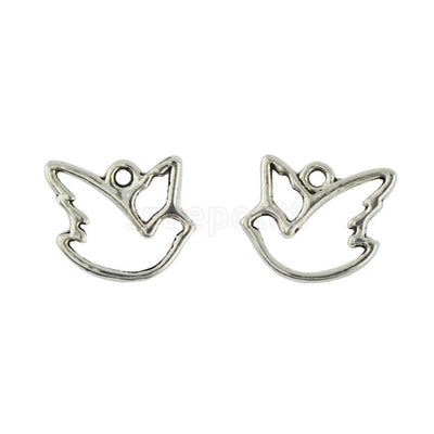 100Pcs Animal Birds Hollow Pigeon Peace Dove Charms Pendants Jewelry Making