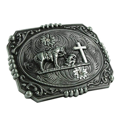 Western Cowboy Horse Rider Belt Buckle Classic Native Cross Buckles 11x8.2cm