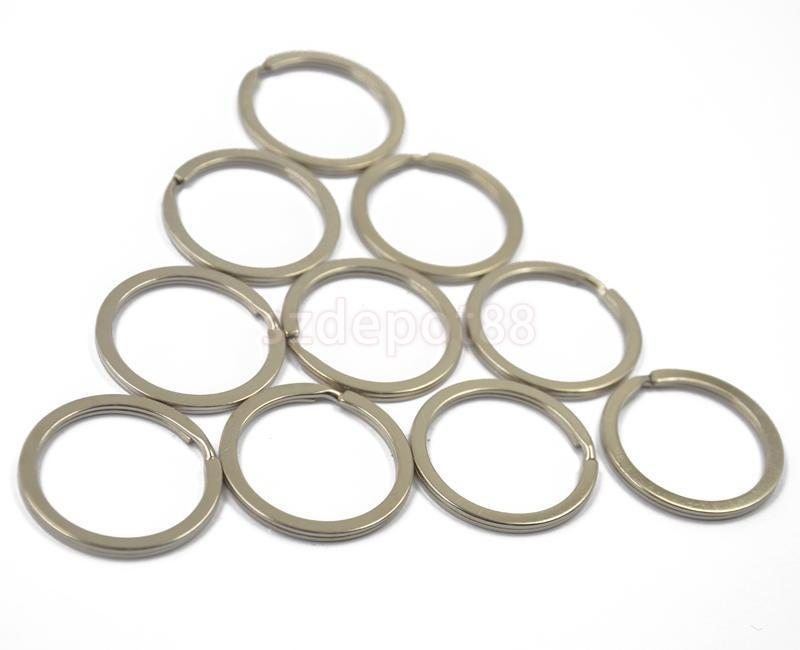 22pcs Flat Split Ring Nickel Hoop keyring Metal Loop Key Rings 32mm/28mm