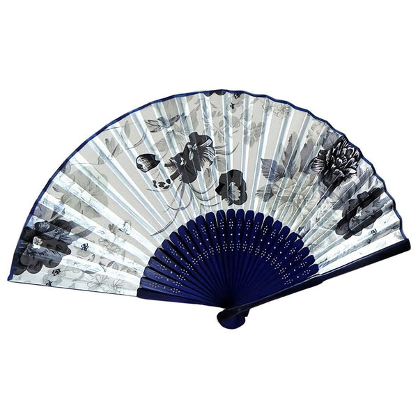 Fabric Chinese Style Floral Pattern Dancing Folding Hand Fan White J9M1 V6T6