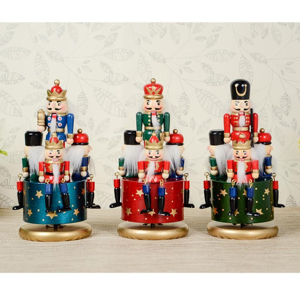 Hand Painted Wooden Nutcracker 4 Soldier Music Box Christmas Decor Ornaments
