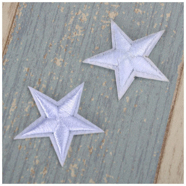 10pcs White Star Embroidered Iron On / Sew On Badge Applique Patch White W9E3