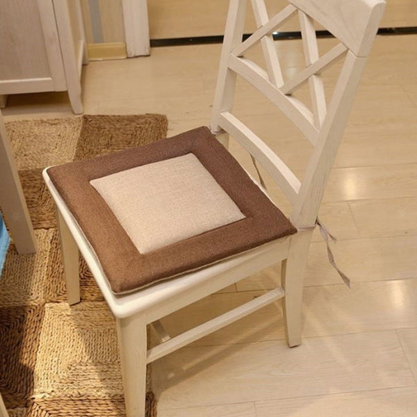 50cm Khaki Dining Chair Cushion Seat Mat Pad & Tie Dining Room Flax + Cotton