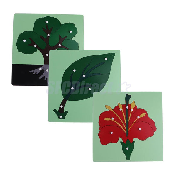 3PCS Montessori Puzzle Wooden Jigsaw for Kids Baby Early Educational Flower