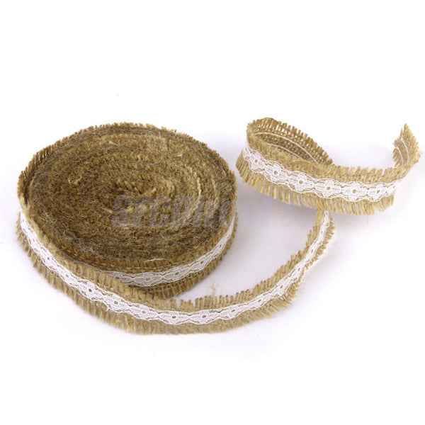 Natural Jute Hessian Burlap Ribbon w Lace Rustic Wedding Decor Floristry 10M