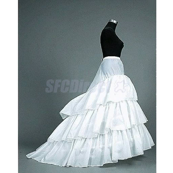 Wedding Dress Petticoat Underskirt 3 Layers 3-Hoop Crinoline Slip With Train