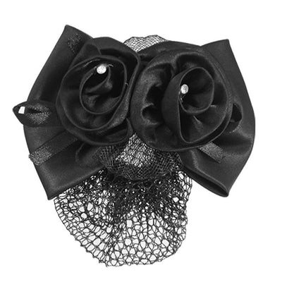 Women Black Polyester Bow Ribbon Metal Barrette Snood Net Bun Cover HairClip WS
