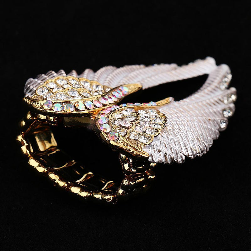 Shiny Fashion Angel Wings Rhinestone Ring Charm Crystal Jewelry Women Gift