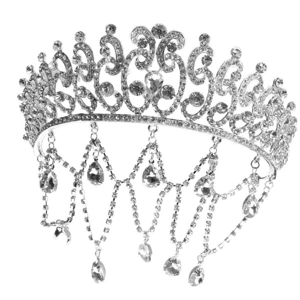 MagiDeal Bridal Tiaras Hairpin Sliver Tassel Crystal Princess Crown Headband