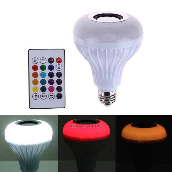 12W E27 LED RGB Wireless Bluetooth Speaker Light Music Playing Lamp W/ Remote