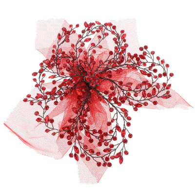 Pretty Women Girls Red Flower Tulle Hair Clip Headwear Jewelry Accessories