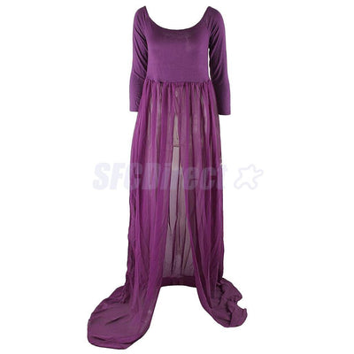 2Pcs Pregnant Women Maxi Dress Maternity Gown Photography Props Photo Shoot