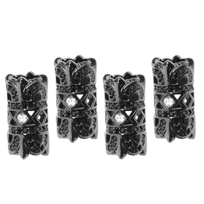 4 Pcs Column Tube Craft Loose Metal Black Beads Necklace Bracelet Accessory