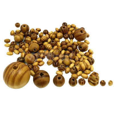 140pcs Assorted Round Wooden Beads Jewelry Making Loose Spacers Charms Beads