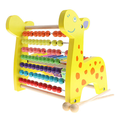 Baby Wooden Fawn Toys 3 in one Blocks Abacus Music Xylophone Developmental