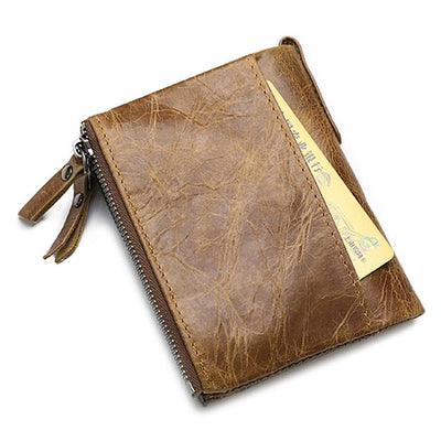 Men's Retro Leather Moneybag Credit Cards Wallet Holder,Brown
