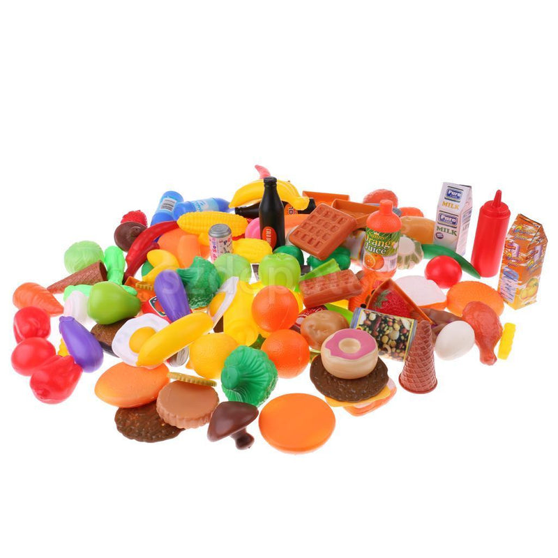 120pcs Fruits Vegetables Kitchen Foods Set Preschool Pretend Role Play Toys