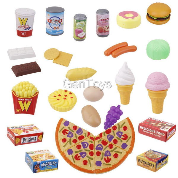 24pcs Simulation Food Set Kids Pretend Play Role Playing Fun Toys Xams Gift