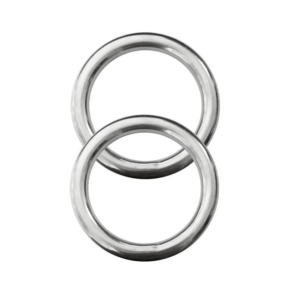 "2pcs Polished Welded 316 Stainless Steel O Ring Boat Scuba Yoga 0.2"" x 1.2"""