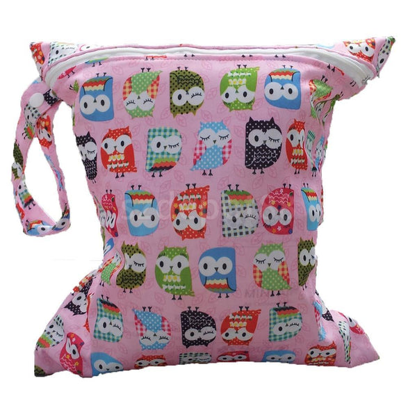 Waterproof Reusable Zip Wet Dry Bag for Baby Cloth Diaper Nappy Bag Pink Owl