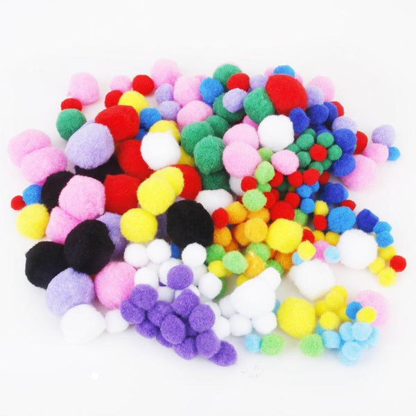 300pcs Colorful SOFT Fluffy POMPOMS Crafting Supplies POM POMS DIY 5 Size