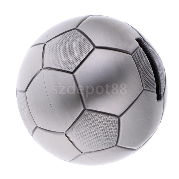 Alloy Metal Football Money Box Piggy Bank Coin Penny Storage Saving Pot Gift