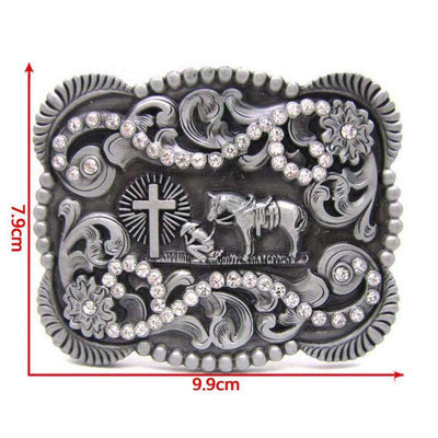 Men Buckle Retro Belt Buckle Western Cowboy Native American Knights Pattern