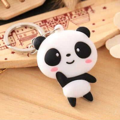 Cute Lovely Cartoon Panda Keychain Keyring Bag Pendant Silicone Key Ring Chain
