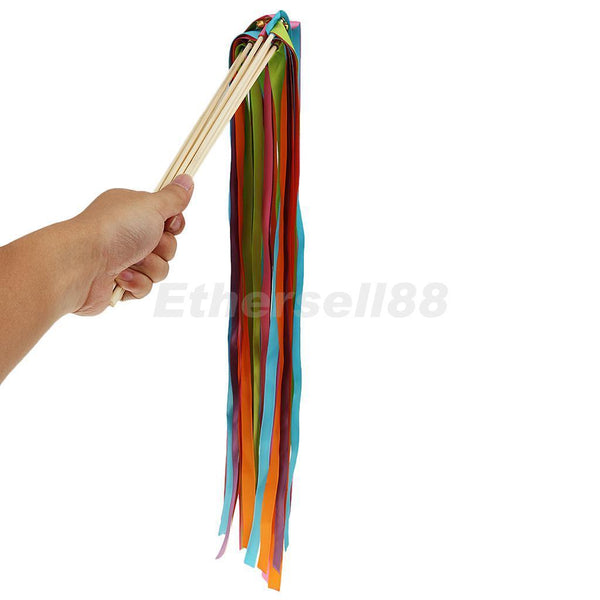 10pcs Multicolor Ribbon Bell Colored Wands Wedding Engagement Sticks