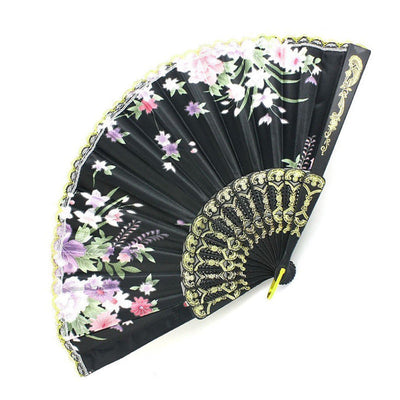 Plastic Frame Flower Pattern cloth Handheld Folding Fan Black E5A5 U9U9