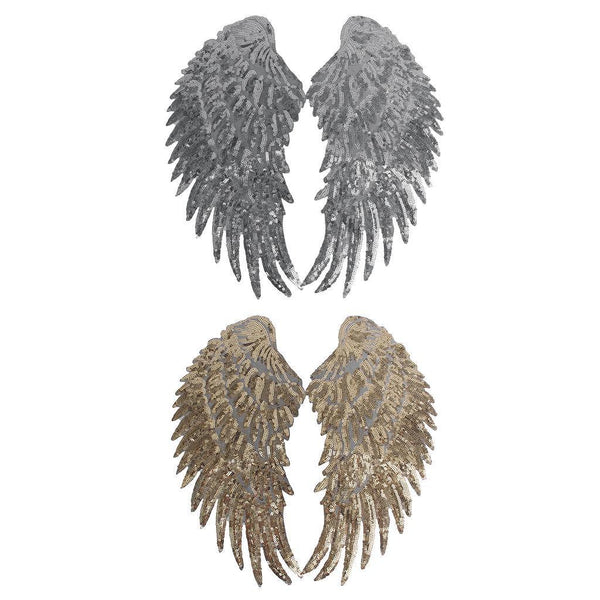 2 Pairs Sequins Angel Wings Patch DIY Kids Clothes Sew on Embroidered Patch