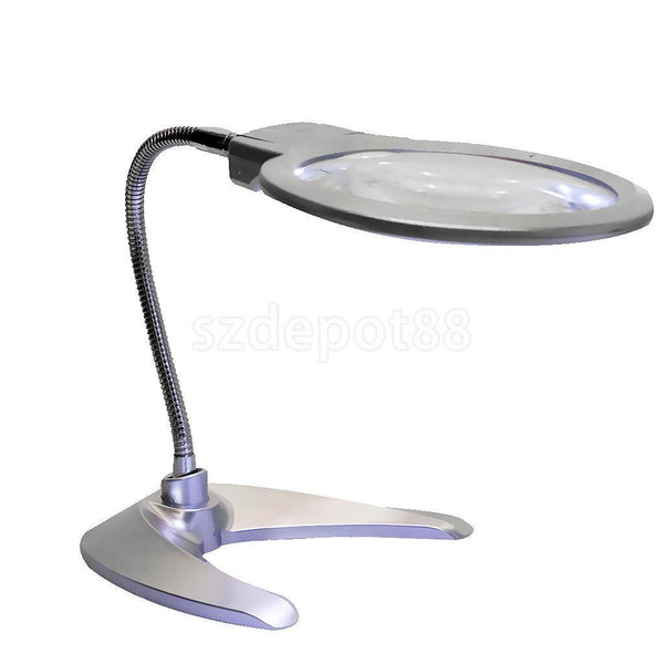LED Lighted 2x5x Power Magnifier and Desk Lamp Flexible Neck Adjustable