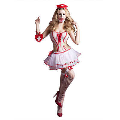 Hospital Nurse Honey Costume Headband Jumpsuit Stockings Women's Fancy Dress