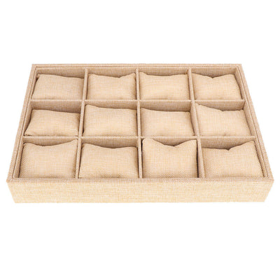 12-Slot Jute Lining Jewelry Box Bangle Ring Organiser with Pillows Beige