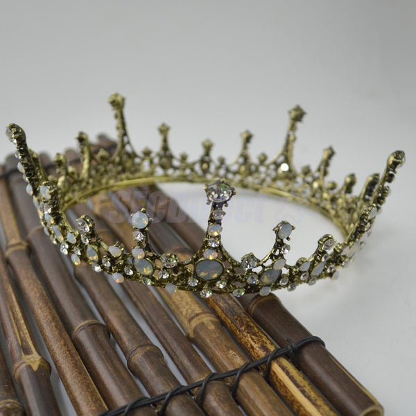 Baroque Bronze Opal Crystal Headband Tiara Crown Wedding Bridal Headpiece