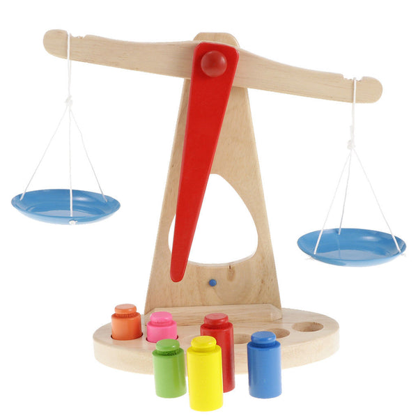 Wooden Balance Scale with 6 Weights for Kids Preschool Math Education Toys