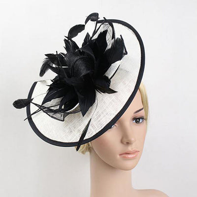 9fe6b5f7f0c Quick View Wedding Fascinators Black And White Sinamay Hat Feather Flower  Hair Clip ...