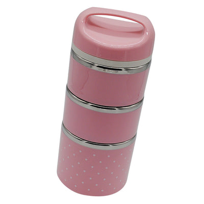 3 Tier Lunch Boxes Thermal Bento Box Insulated Stainless Steel Tiffin Pink
