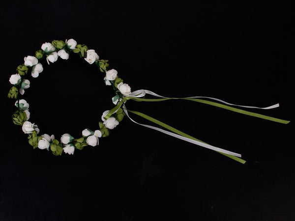 White Green Rose Flower Branch Bridal Beach Wedding Prom Head Wreath Crown Photo