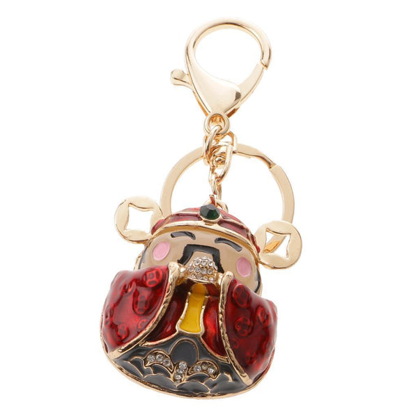 Crystal Charm Pendant Purse Bag Key Ring Chain Keychain Gift God of Wealth
