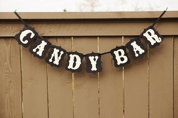 2.4M CANDY BAR Sign Bunting Banner Wedding Birthday Party Buffet Decoration