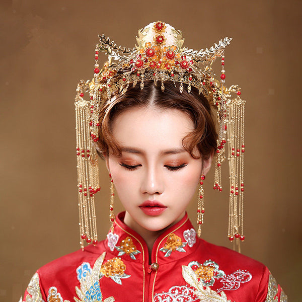 Retro Crown with Tassels and Earrings Chinese Wedding Bridal Hair Accessory