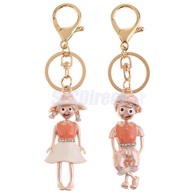 2PCS Couples Lover Key Chain Key Ring for Women Men Valentines Wedding Gift